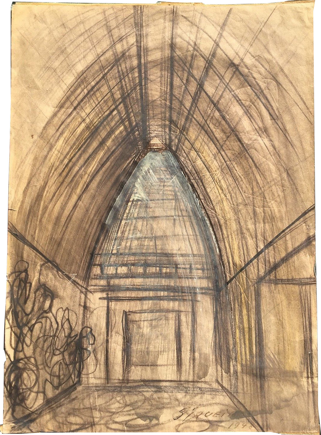 Chapel Mural Study Drawing by David Alfaro Siqueiros
