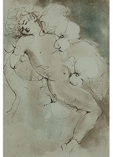Untitled Implied Erotic Scene by Leonor Fini