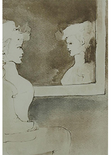 Untitled Girl & Mirror by Leonor Fini